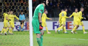 Arsenal goalkeeper Petr Cech believes his team had enough chances to win the game in Belarus. Photograph: PA