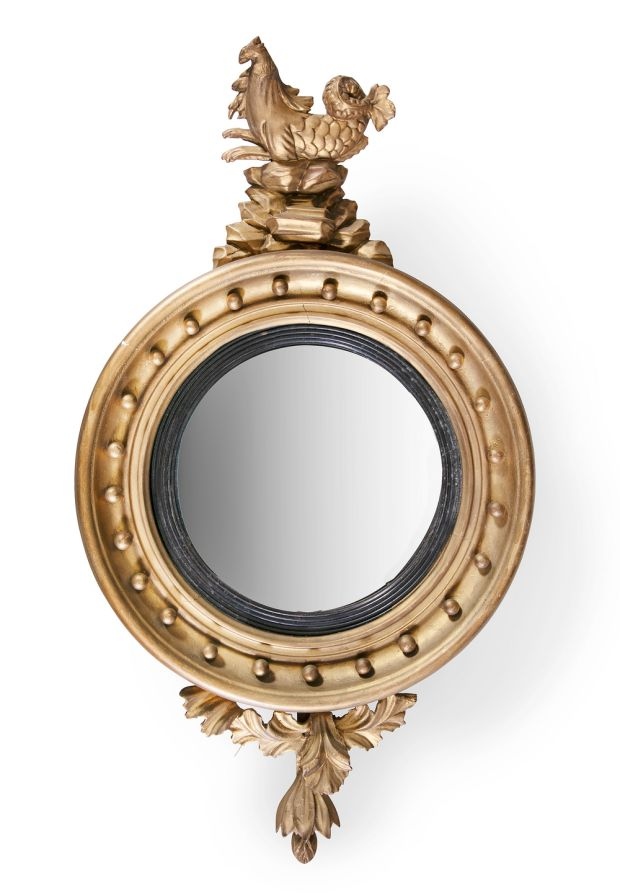 Lot 185: Regency convex wall mirror €400–€600; Adam's