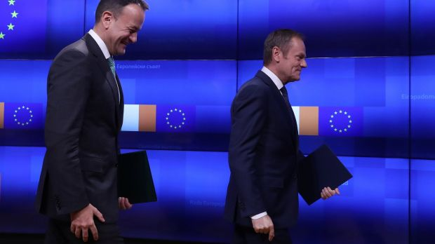Donald Tusk and Leo Varadkar leave the room after a statement at the European Council headquarters in Brussels, on February 6th, 2019. Photograph: Yves Herman/Reuters.