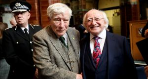 President Michael D Higgins  with Prof. George Huxley, sponsor of George Huxley Prize for Irish Studies, at a reception at the University of Liverpool on Tuesday. Photograph: Maxwell/PA Wire