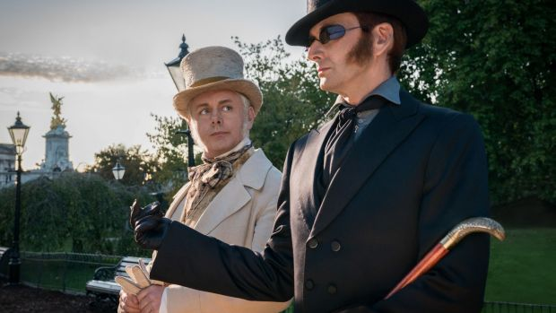 Michael Sheen as the angel (left) and David Tennant as the demon in 'Good Omens'. Photograph:Amazon Prime Video/PA