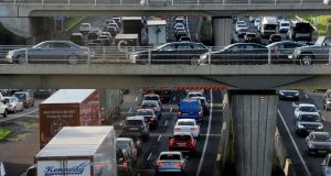 Motorists in Dublin spend a total of 246 hours – more than 10 full days – in their cars, travelling at an average speed of less than 10 km per hour at peak times, according to new research. Photograph: Alan Betson / The Irish Times