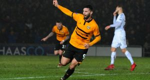 Pádraig Amond of Newport County celebrates scoring his side's second goal during their FA Cup  match against Middlesbrough at Rodney Parade earlier this month. Photograph:  Athena Pictures/Getty Images