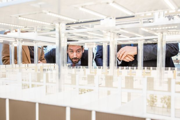 Housing Minister Eoghan Murphy takes a closer look at a model of Cherrywood Town Centre whichwill develop 1,269 new apartments in South Dublin