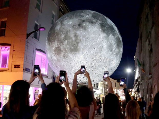 2nd, Hany Marzouk – Luke Jerram's Museum of the Moon measuring seven metres in diameter and featuring imagery of the lunar surface at Shop Street, Galway as part of Galway Arts Festival.