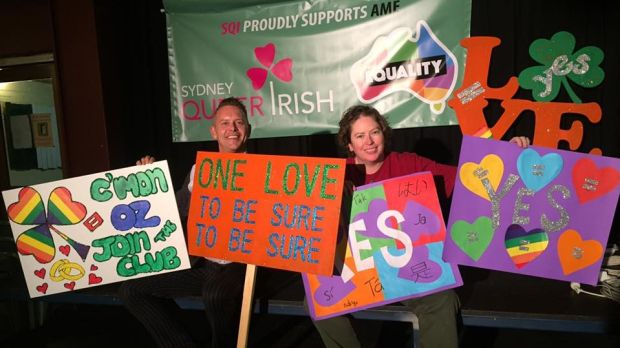 Members of Sydney Queer Irish making marriage equality banners at the Gaelic Club in Sydney.