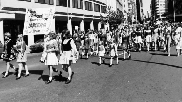 Irish dancers marching in the Sydney St Patrick's Day parade in 1980.