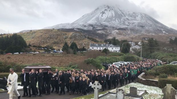 The funeral of Micheal Roarty in Dunlewey, Co Donegal. Photograph: Michael McHugh/PA Wire