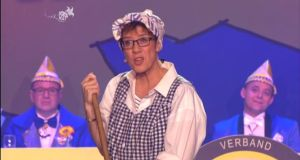 "Annegret Kramp-Karrenbauer as Gretel in 2017. During that  turn, Gretel told her cheering audience about Donald Trump: ""If they'd asked us ... they'd not have elected that twit."" Photograph: YouTube"