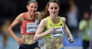 Ciara Mageean on her way to setting a new indoor Irish record in the TG4 Women's 1,500m of 4:06.78sec during the AIT International Grand Prix. Photograph: Brendan Moran/Sportsfile