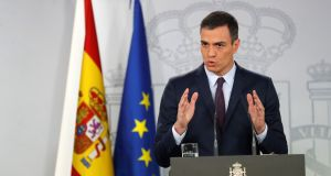 Spanish prime minister Pedro Sanchez delivers an institutional statement after an extraordinary cabinet meeting at the presidential palace in Madrid, on Friday. Photograph: Chema Moya/EPA