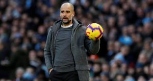 Manchester City manager Pep Guardiola will bring his Premier League champions to Rodney Parade in the fifth round of the FA Cup on Saturday. Photograph: Phil Noble/Reuters