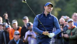 Rory McIlrot stuttered to an opening round of 71 in LA. Photograph: Reed Saxon/AP