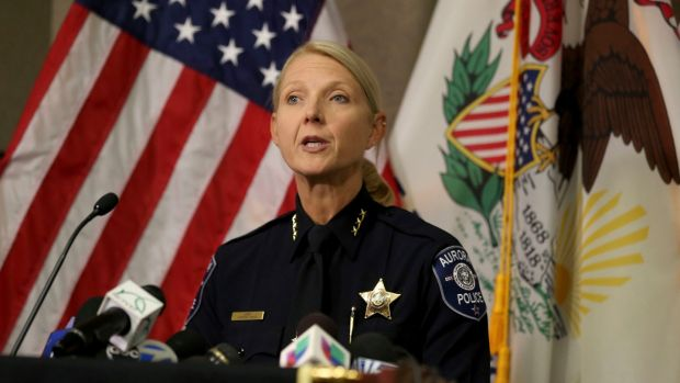 Aurora police chief Kristen Ziman speaks at a news conference Friday about the shootings at a manufacturing company in the city. Photograph: Patrick Kunzer/Daily Herald/AP