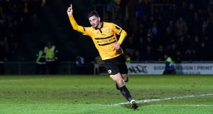 Newport County's Pádraig Amond celebrates scoring their  goal in the  FA Cup fifth-round tie against  Manchester City at  Rodney Parade. Photograph: Rebecca Naden/Reuters