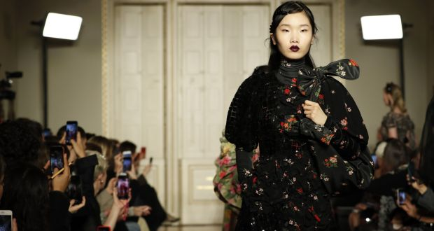 A model walks the runway at the Simone Rocha show on Saturday during London Fashion Week.  Photograph: Luke Walker/BFC