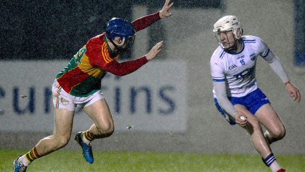 Waterford's Shane Bennett and Carlow's Michael Doyle in action during the Allianz Hurling League Division 1B game at Fraher Field. Photograph: Ken Sutton/Inpho