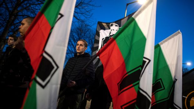 Annual march commemorates Hristo Nikolov Lukov who was leader of the Union of Bulgarian National Legions and minister of war during the second World War. Photograph: Vassil Donev/EPA
