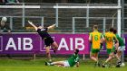 Corofin's Gary Sice scores a goal during the AIB All-Ireland Senior Club Championship semi-final at Páirc Seán Mac Diarmada in Carrick-on-Shannon. Photograph: Tommy Dickson/Inpho