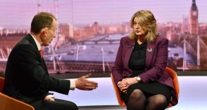 Airbus UK senior vice president Katherine Bennett on the BBC current affairs programme, the Andrew Marr Show. Photograph: Jeff Overs/BBC