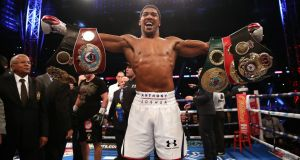 Anthony Joshua, who currently holds three belts,  will defend his world heavyweight titles against Jarrell Miller at Madison Square Garden on June 1st. Photograph: Nick Potts/PA