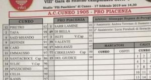 The team-sheet from the Serie C match between Cuneo and Pro Piacenza. Photograph: @GiovaAlbanese/Twitter