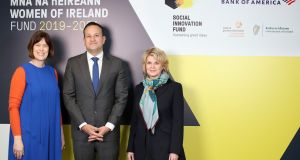 Deirdre Mortell (left) chief executive of Social Innovation Fund Ireland, An Taoiseach Leo Varadkar and Anne Finucane, chairwoman of Bank of America Merrill Lynch Europe. Photograph: Marc O'Sullivan