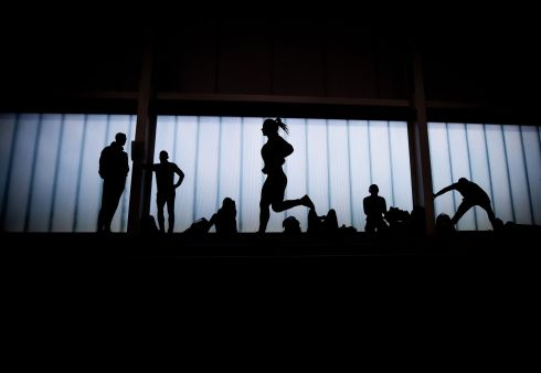 CHAMPIONSHIPS: Athletes warm up before the start of the Irish Life Health National Senior Indoor Championships at the  National Indoor Arena, Dublin on February 17th. Photograph: Bryan Keane/Inpho