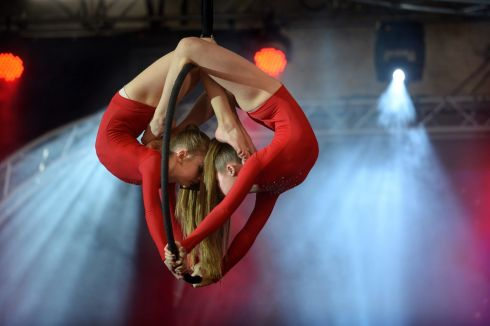 IN A TWIST: Tribe Aerialist on the main stage at Perform, Ireland's performing arts event in the RDS Dublin. Photograph: Dara Mac Dónaill/The Irish Times