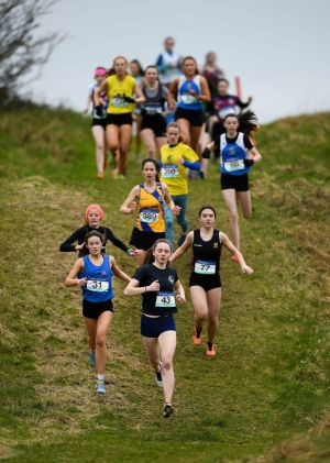 LEADER OF THE PACK: Eala McDermott of Mercy College Sligo, Co Sligo leads the intermediate girls race during the Irish Life Health Connacht Schools Cross Country at Bush Field in Loughrea, Co Galway on February 16th. Photograph: Harry Murphy/Sportsfile