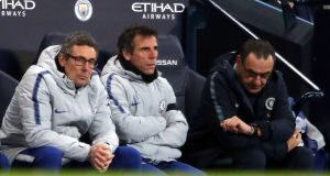 Chelsea assistant managers Luca Gotti, Gianfranco Zola with  manager Maurizio Sarri (right).  Photograph: Nick Potts/PA