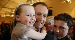 Barry Andrews is congratulated by two of his children, Kate and Hugh, after being selected to contest the European Elections for Fianna Fáil in Dublin. Photograph: Nick Bradshaw/The Irish Times