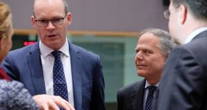 Simon Coveney  and Italian Minister for Foreign Affairs Enzo Moavero Milanesi during a European Foreign Affairs Council meeting, in Brussels on Monday. Photograph: Olivier Hoslet/EPA