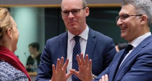 Simon Coveney  and the Minister of Foreign Affairs of Malta, Carmelo Abela (right) speak with a colleague  during an European Foreign Affairs Council meeting, in Brussels. Photograph: Olivier Hoslet/ EPA