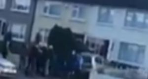 A screengrab from a video posted on Facebook showing man being attacked after he was confronted by a group calling itself Child Protection Awareness in Dublin