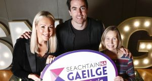 Seachtain na Gaeilge le Energia ambassadors Tracy Clifford, presenter with 2fm, Dublin footballer Michael Darragh Macauley and Linda Ervine, Irish Language Development Officer in East Belfast. This year's festival #SnaG19 will be celebrated from 1st - 17th March. Photograph:  Conor McCabe Photography