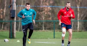 CJ Stander and Tadhg Beirne taking part in a Munster training session at UL last week. Photograph: Morgan Treacy/Inpho