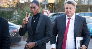 South African Olympic champion Caster Semenya   arrives with her lawyer  for the first day of her hearing at the international Court of Arbitration for Sport  in Switzerland on Monday. Photograph: EPA