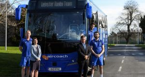 Aircoach managing director Dervla McKay with Leinster Rugby head coach Leo Cullen (left),  chief executive Mick Dawson and players Caelan Doris and Barry Daly. Photograph: Piaras Ó Mídheach / Sportsfile