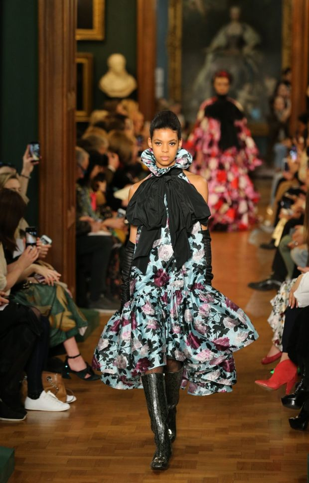 Models on the catwalk during the Erdem Autumn/Winter 2019 London Fashion Week show at The National Portrait Gallery, London. Photograph: Isabel Infantes/PA