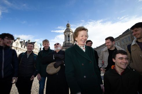 Chancellor of Trinity College Dublin and former president of Ireland Dr Mary Robinson and Senator David Norris pictured at the launch of Trinity's Green Week with members of the Trinitones, an acappella ensemble. Photograph: Tom Honan/The Irish Times.