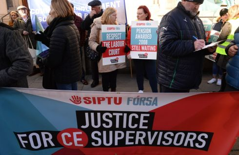 Community Employment scheme supervisors and assistant supervisors stage a one-day strike on pension issues, outside the Department of Finance office in Dublin. Photograph: Dara Mac Donaill/The Irish Times