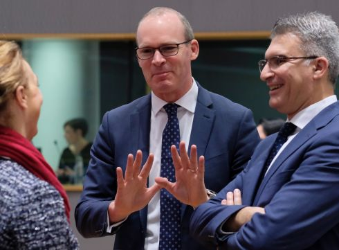 Tanaiste and Minister for Foreign Affairs and Trade Simon Coveney (centre) with Malta's minister of foreign affairs, Carmelo Abela (right) and a colleague during a European Foreign Affairs Council meeting in Brussels. Photograph: EPA/Olivier Hoslet