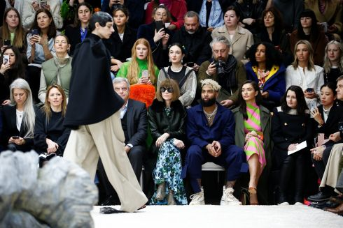 Editor-in-chief of Vogue US, Anna Wintour, watches models during the JW Anderson catwalk show at London Fashion Week Women's A/W19. Photograph: Reusters/Henry Nicholls