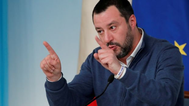 Italy's interior minister, Matteo Salvini, is being investigated by Sicilian prosecutors over his blocking a coastguard vessel from entering Italy in August last year with 177 migrants on board. Photograph: Remo Casilli/Reuters