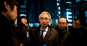 Junichiro Hironaka, new lawyer of former Nissan chief Carlos Ghosn, speaks with media outside his office in Tokyo. Photograph: Behrouz Mehri / AFP / Getty