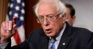 "US senator Bernie Sanders: said that his policies were now supported ""by a majority of Americans"".  Photograph: Yuri Gripas/Reuters"