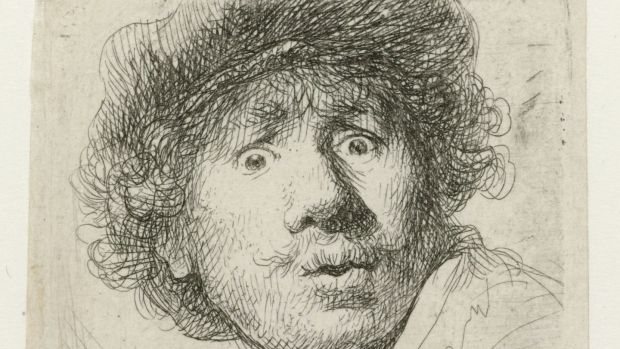 Rembrandt's Self-Portrait with Beret, Wide-Eyed, 1630. Photograph: Rijksmuseum, Amsterdam