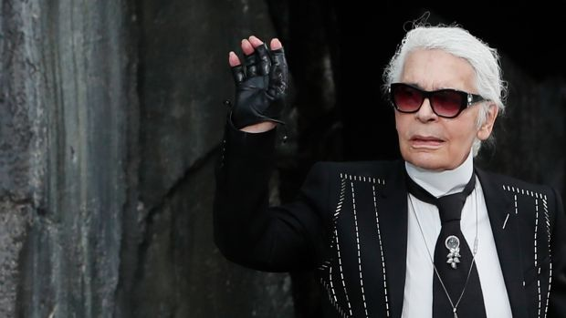 Karl Lagerfeld on the catwalk his Spring/Summer 2018 ready- to-wear collection for Chanel in 2017. Photograph:Ian Langsdon/EPA