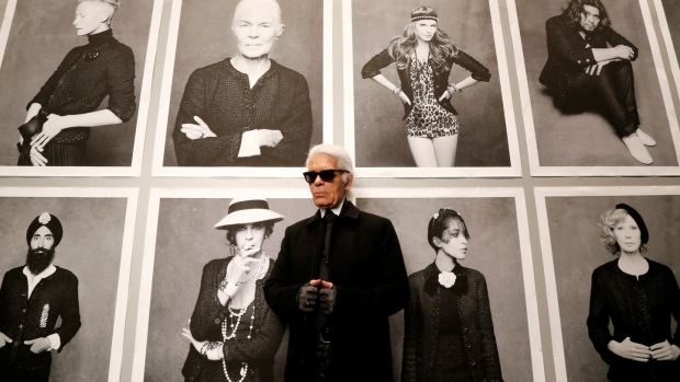 "Karl Lagerfeld poses before the opening of his photo exhibition entitled ""Little Black Jacket"" at the Grand Palais in Paris in 2012. File Photograph:Benoit Tessier/Reuters"